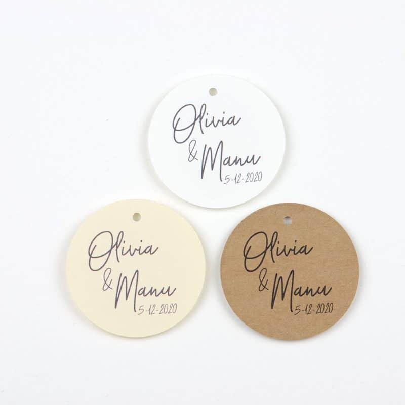 Etiquetas circulares personalizadas boda